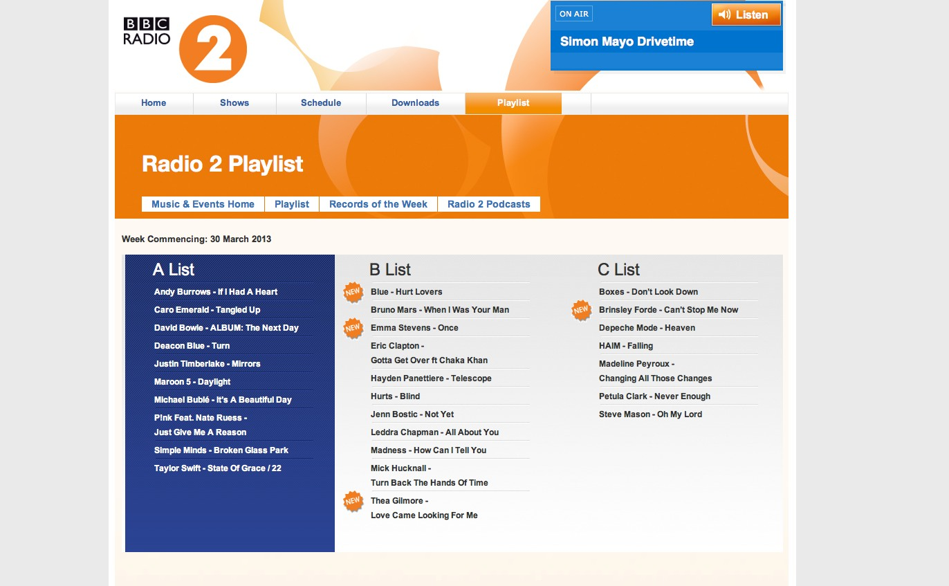 radio 2 playlist copy